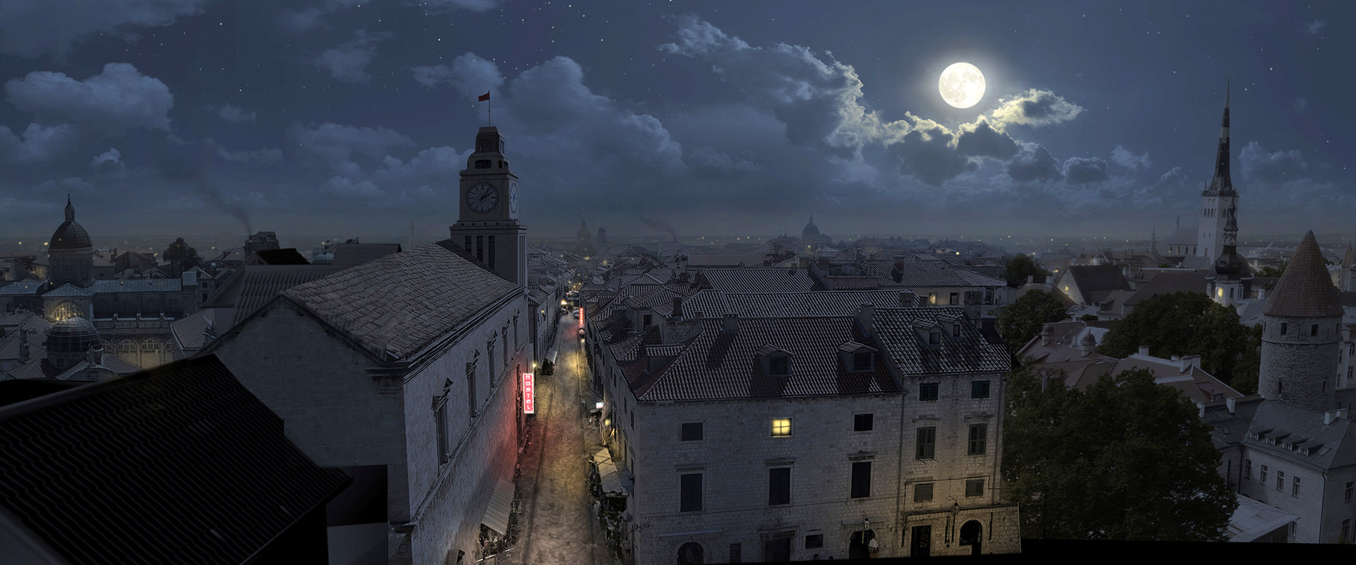 VFX environment of an old town in moon light.